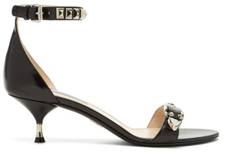 Prada Studded Leather Kitten Heel Sandals - Womens - Black