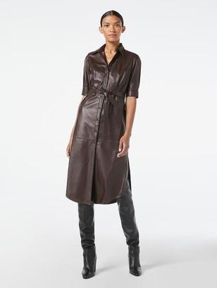 Frame 70s Short Sleeve Leather Shirt Dress