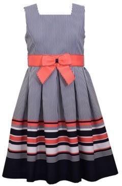 Bonnie Jean Little Girls Sleeveless Border Striped Dress