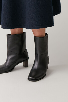 Cos Leather Boots With Tilted Heel