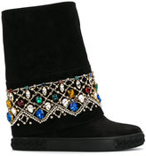Casadei crystal-embellished Chaucer boots - women - Chamois Leather/Kid Leather/Calf Suede/rubber - 37