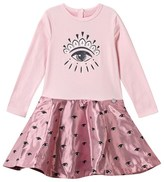 Kenzo Pink Glitter Eye Print Jersey Dress with Jacquard Skirt