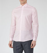 Reiss Reiss Shane - Cotton And Linen Shirt In Red