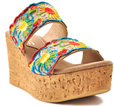 Sbicca Natural & Yellow Renata Leather Wedge Sandal