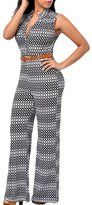 Maxwell Women's Plus Size Circle Print Belted Wide Leg Club Cocktail Jumpsuit Romper