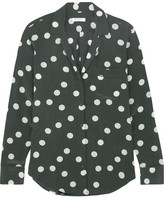 Equipment Keira Polka-dot Washed-silk Shirt - Emerald