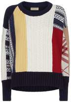 Burberry Contrast Knit Wool-Cashmere Sweater