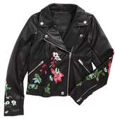Blank NYC Girl's Blanknyc Embroidered Faux Leather Moto Jacket
