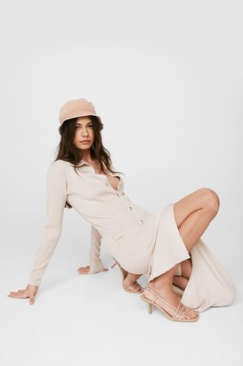 Nasty Gal Womens Knit's All for You Button-Down Midi Dress - Beige - 12