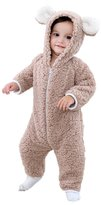 Janeyer® Janeyer Kids Baby Cartoon Bear Hooded Romper Warm Polar Fleece Jumpsuit Outfits 100cm