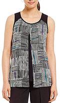 I.N. Studio Stripe Patchwork Print Sleeveless Top