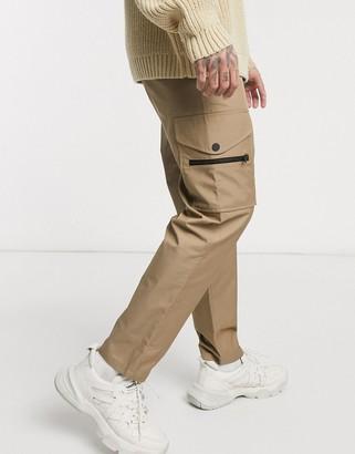 Mennace chinos with cargo pocket in beige