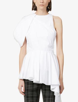 Alexander McQueen Pleated asymmetric-hem sleeveless cotton top