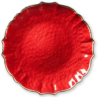 Vietri Pastel Glass Salad Plate - Red red/gold