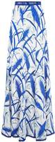 Andrew Gn Silk Feather Floral Print Maxi Skirt