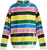 Ashish Oversized striped sequin-embellished top