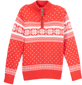 E-Land Kids Red & White Quarter-Zip Snowflake Sweater - Toddler & Boys