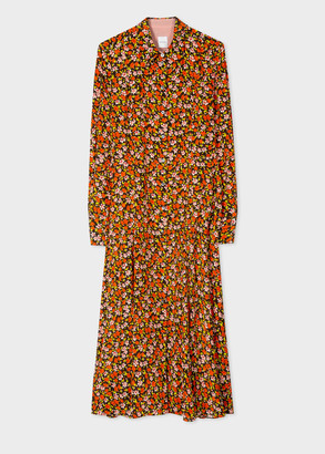 Paul Smith Women's Orange 'Rizo Floral' Print Silk Shirt Dress