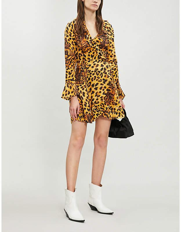 The Kooples Leopard print ruffle trim chiffon dress