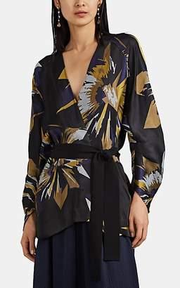 Zero Maria Cornejo Women's Curve Floral Jacquard Kimono Jacket - Black
