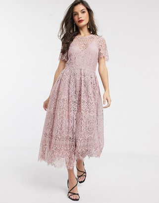 ASOS DESIGN lace midi dress with ribbon tie and open back in soft rose