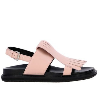 Marni Flat Sandal In Leather With Fringes
