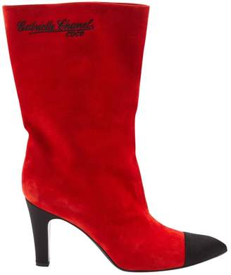 Chanel Red Suede Boots