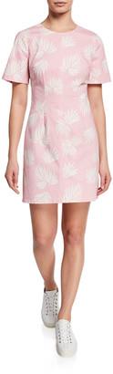 Cinq à Sept Phoenix Madison Leaf-Print Short-Sleeve Mini Dress