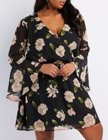 Charlotte Russe Plus Size Floral Surplice Bell Sleeve Dress