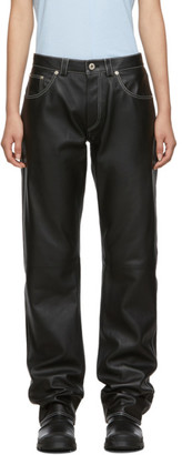 Loewe Black Leather Straight-Leg Trousers