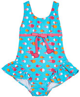 Florence Eiseman One-Piece Ruffle Fish-Print Swimsuit, Multicolor, Size 6-24 Months