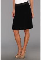 Karen Kane Faux Leather Waistband Skirt (Black) - Apparel