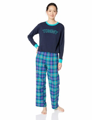 Tommy Hilfiger Women's Top and Flannel Pant Bottom Pajama Set Pj