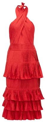 Johanna Ortiz Eccentric Vibes Halterneck Jacquard Midi Dress - Womens - Red