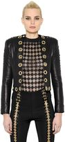 Balmain Gold Eyelets Lace-Up Leather Jacket