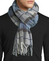 Eton Plaid Wool Scarf, Blue