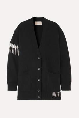 Christopher Kane Oversized Crystal-embellished Wool Cardigan - Black