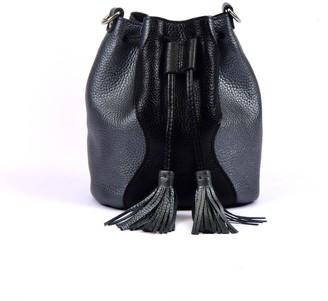 Atelier Hiva Mini Rivus Leather Bag Black & Metallic Anthracite