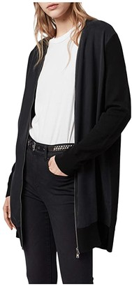 AllSaints Jamie Zip Cardigan (Black/Ink Navy) Women's Clothing