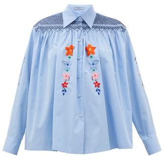 Prada Floral-embroidered Smocked Cotton Blouse - Light Blue