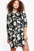 boohoo Plus Sadie Floral Satin Shirt Dress black