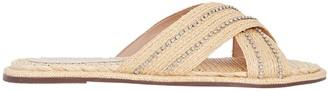 Schutz Carlotta Crystal Raffia Flat Sandals