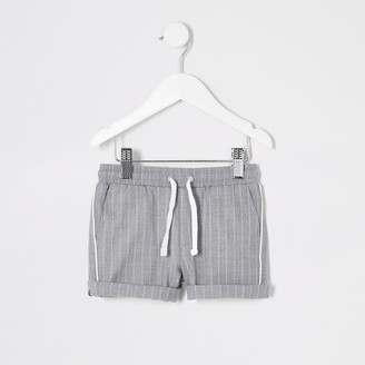 River Island Mini boys Grey stripe shorts