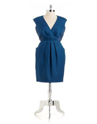 Carmen Marc Valvo Surplice Woven Dress