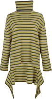 Balenciaga Striped Asymmetric High Collar Sweater