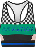 P.E Nation - Ball Rolling Printed Stretch-jersey Sports Bra - Black