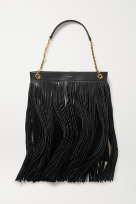 Saint Laurent Grace Large Fringed Leather And Suede Shoulder Bag - Black