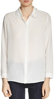 Maje Camisa Layered-Collar Silk Shirt