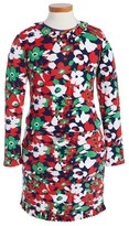 Oscar de la Renta Floral Print Long Sleeve Dress (Little Girls & Big Girls)
