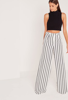Missguided Tall Exclusive Striped Wide Leg Pants White